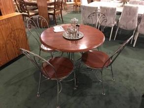 round-wood-metal-dining-set
